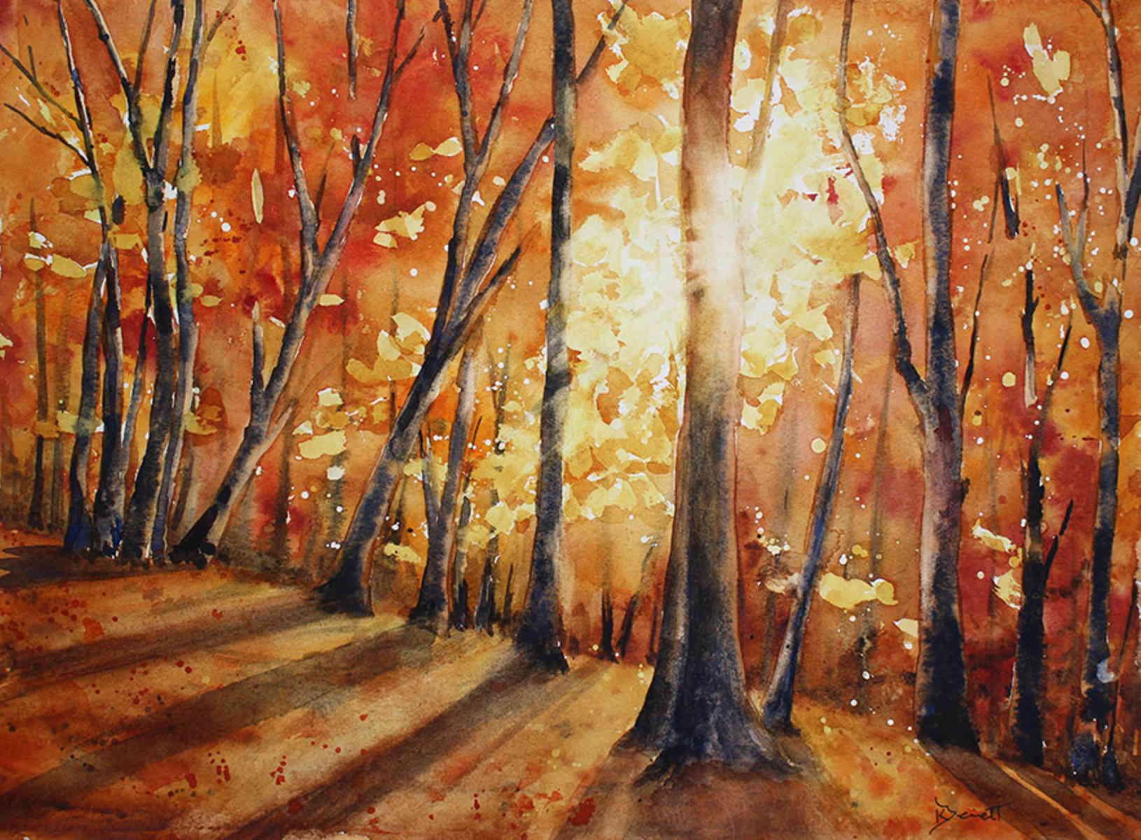 9 x 12 Autumn Birches Original Watercolor