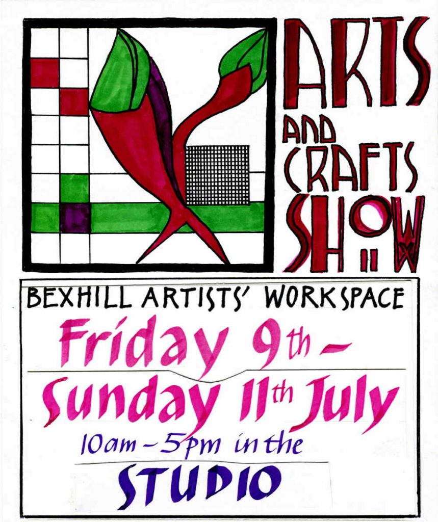 Arts and Crafts Exhibition, at the Studio of the De La Warr Pavilion, Bexhill on Sea,  TN40 1DP, Friday 9th July till Sunday 11th July, 10am till 5pm.